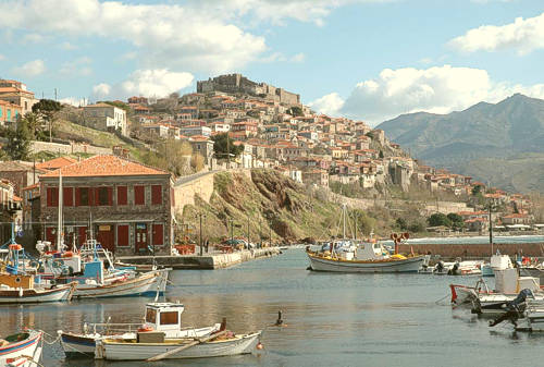 Molivos (or Mithymna) town at the north tip of Lesvos island.